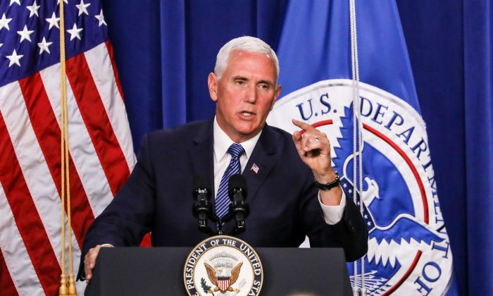 Vice President Mike Pence delivers remarks at the U.S. Immigration and Customs Enforcement headquarters in Washington on July 6, 2018. (Samira Bouaou/The Epoch Times)