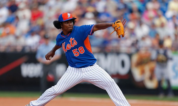 enrry Mejia #58 of the New York Mets pitches during the game against the Detroit Tigers at Tradition Field on March 6, 2015 in Port St. Lucie, Florida.  (Rob Foldy/Getty Images)