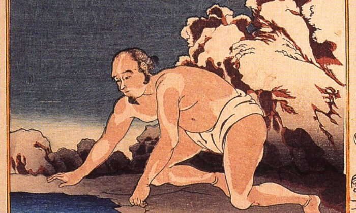 A depiction of Wang Xiang by Utagawa Kuniyoshi. When his stepmother craves fish in mid-winter, Wang Xiang takes off his clothes and lays down on the frozen river to melt the ice.  After his prayer, a carp leaps into his hands.  (Public Domain)