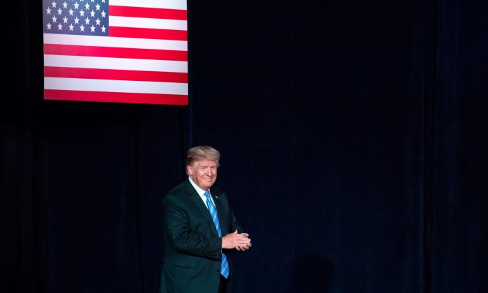 President Donald Trump at the Salute to Service Dinner in White Sulphur Springs, W. Va., on July 3, 2018. (Samira Bouaou/The Epoch Times)