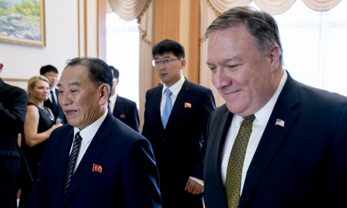 U.S. Secretary of State Mike Pompeo (R) and Kim Yong Chol, a North Korean senior ruling party official and former intelligence chief, arrive for a lunch at the Park Hwa Guest House in Pyongyang, North Korea on July 7, 2018. (Andrew Harnik/AFP/Getty Images)