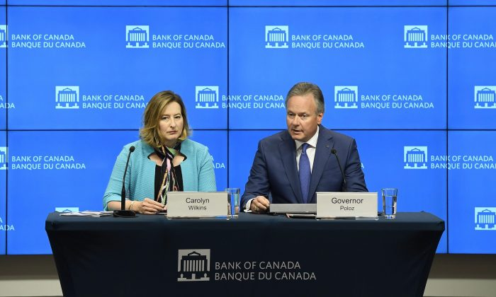 Governor of the Bank of Canada Stephen Poloz speaks as Senior Deputy Governor Carolyn Wilkins looks on after the central bank raised its overnight rate target to 1.5 percent in Ottawa on July 11, 2018. (The Canadian Press/Justin Tang)