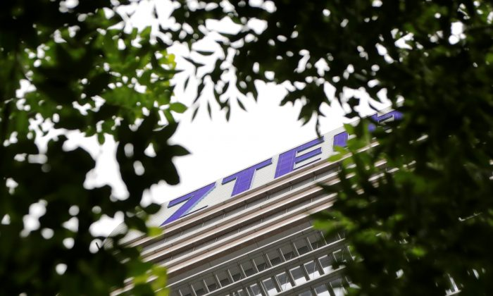 The logo of China's ZTE is seen on the building of the company's research and development center in Beijing on June 13, 2018. (Jason Lee/Reuters)