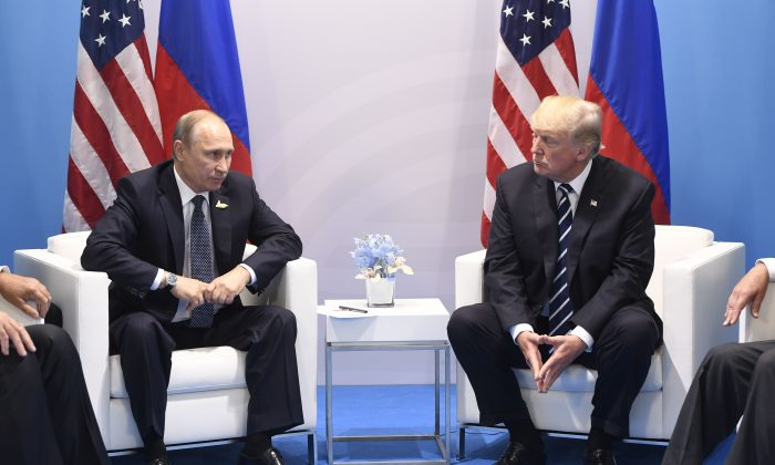 President Donald Trump and Russian President Vladimir Putin on the sidelines of the G-20 Summit in Hamburg, Germany, on July 7, 2017. (SAUL LOEB/AFP/Getty Images)