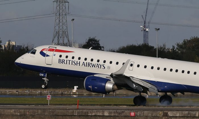 A British Airways E190 Embraer airplane lands at London City Airport in London on Oct. 27, 2017. (Daniel Leal-Olivas/AFP/Getty Images)