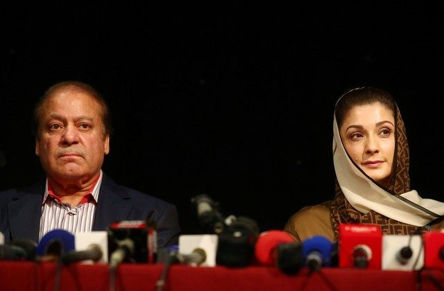 Ousted Prime Minister of Pakistan, Nawaz Sharif, appears with his daughter Maryam, at a news conference at a hotel in London, Britain July 11, 2018.  (Reuters/Hannah McKay)