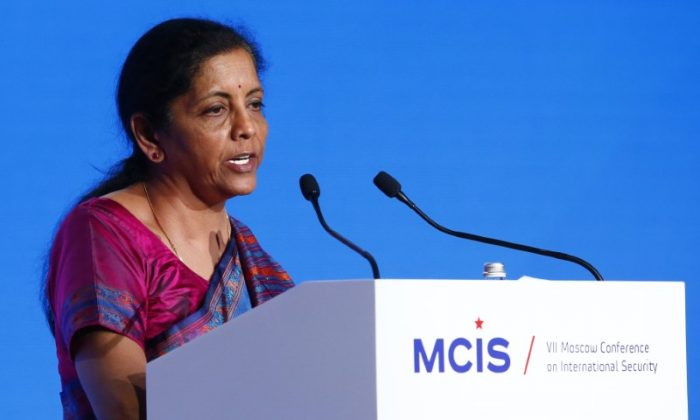 Indian Defence Minister Nirmala Sitharaman delivers a speech during the annual Moscow Conference on International Security (MCIS) in Moscow, Russia April 4, 2018. (Reuters/Sergei Karpukhin/File Photo)