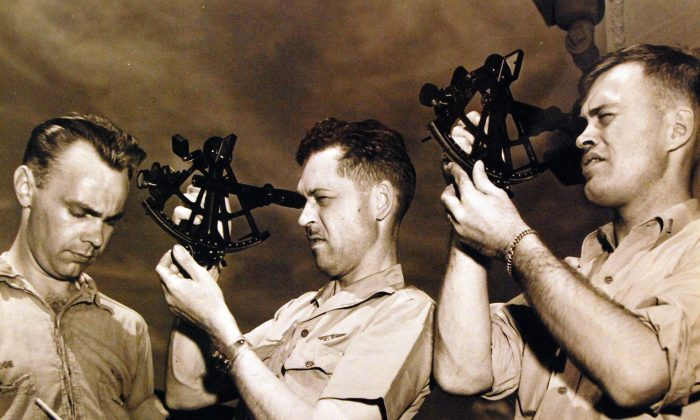 US navy sextant training on June 23, 1945. (Public Domain)