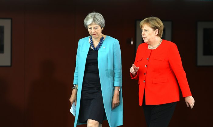 German Chancellor Angela Merkel meets with British Prime Minister Theresa May for talks on July 5, 2018 in Berlin. (Omer Messinger/AFP/Getty Images)