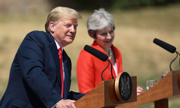 President Donald Trump and UK Prime Minister Theresa May attend a press conference following their meeting at Chequers, the prime minister's country residence, near Ellesborough,  on July 13, 2018. (Jack Taylor/AFP/Getty Images)