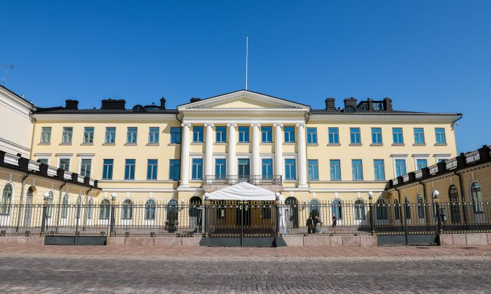 The Presidential Palace in Helsinki, Finland, on July 15, 2018. President Donald Trump and Russian leader Vladimir Putin will meet here on July 16. (Samira Bouaou/The Epoch Times)
