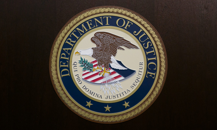 The Department of Justice seal in a file photo. (Samira Bouaou/The Epoch Times)