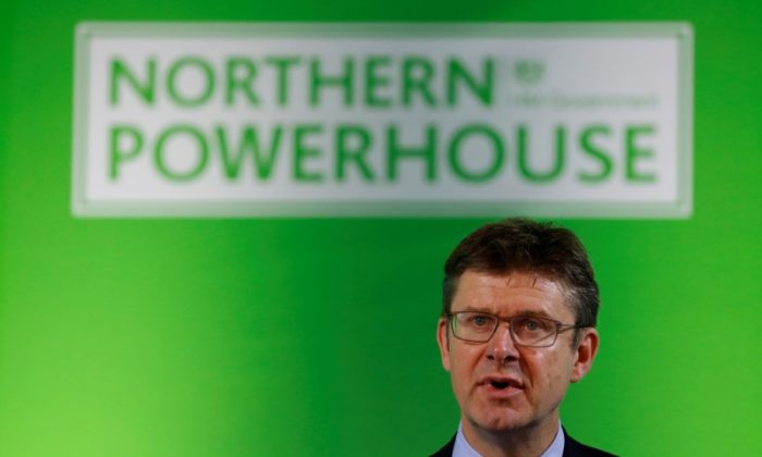 Britain's Secretary of State for Business, Energy and Industrial Strategy, Greg Clark, addresses the Northern Powerhouse Business Summit Boiler Shop in Newcastle, Britain, July 5, 2018. (Reuters/Phil Noble)