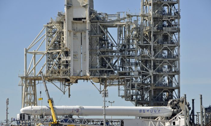 A rocket is prepared for launch at the Kennedy Space Center in Florida on Feb. 17, 2017. (Bruce Weaver/AFP/Getty Images)
