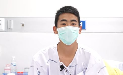 One of the 12 soccer players rescued from Tham Luang cave, on July 10, 2018. (Thai Ministry of Public Health via Storyful)