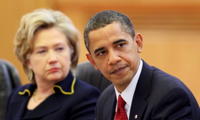 Then-President Barack Obama and then-Secretary of State Hillary Clinton during a meeting in Beijing on Nov. 17, 2009. (Feng Li/Getty Images)
