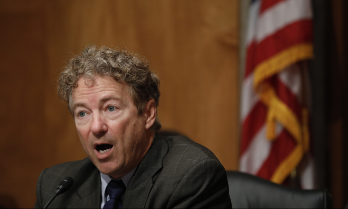 Sen. Rand Paul (R-Ky.) speaks during a hearing on June 6, 2018, on Capitol Hill in Washington. (Aaron P. Bernstein/Getty Images)