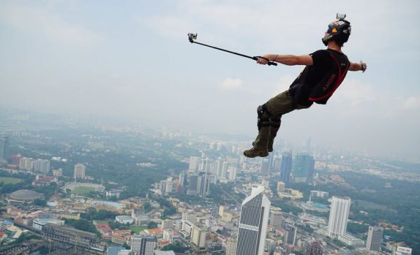 base jumper takes a selfie