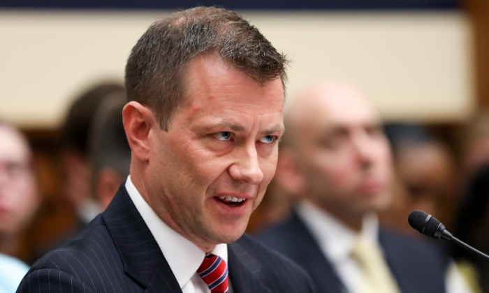 FBI agent Peter Strzok during testimony before Congress on July 12, 2018. Strzok oversaw both the FBI's investigation into Hillary Clinton's use of a private email server and the counterintelligence investigation into Donald Trump's campaign. (Samira Bouaou/The Epoch Times)