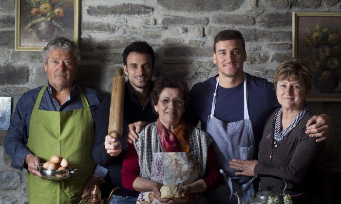 Damiano Carrara (2nd R) and family.