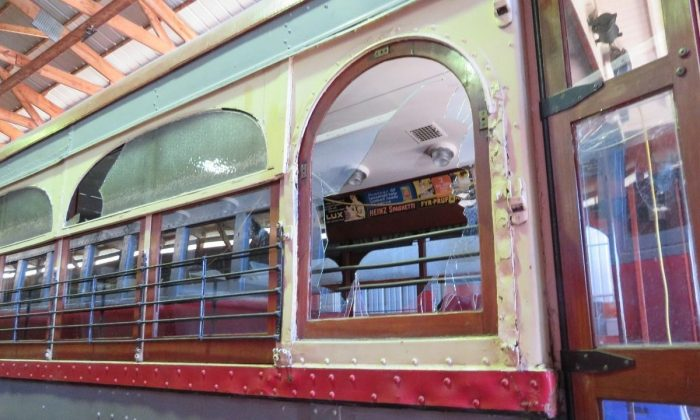 Two boys broke into the Fox Valley Trolley Museum and bashed out train windows among other vandalism acts that may cost up to $150,000. The damage was found July 7, 2018. (Jeffrey Bennett/GoFundme.com)