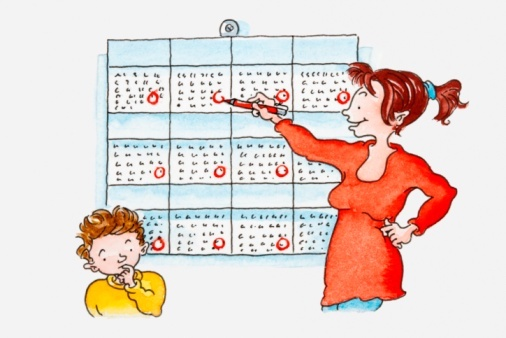 Illustration of woman circling dates on calendar, boy standing near her with finger in his mouth (getty images)