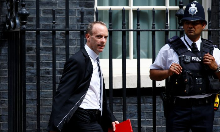Britain's Secretary of State for Exiting the European Union Dominic Raab leaves 10 Downing Street after attending the weekly cabinet meeting, in London, July 17, 2018. (Reuters/Henry Nicholls)