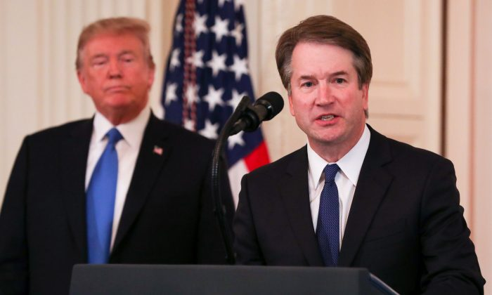 President Donald Trump announces Judge Brett M. Kavanaugh as his nominee for Associate Justice of the Supreme Court of the United States in the East Room of the White House in Washington on July 9, 2018. (Samira Bouaou/The Epoch Times)