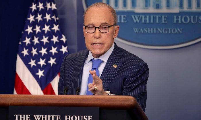 White House Economic Advisor Larry Kudlow holds a news briefing in the Brady Press Briefing Room at the White House in Washington, D.C. on June 6, 2018. (Chip Somodevilla/Getty Images)