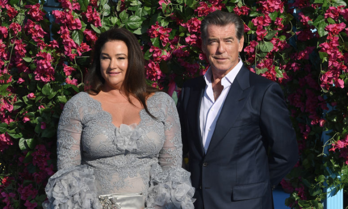 """Keely Shaye Smith and Pierce Brosnan attend the """"Mamma Mia! Here We Go Again"""" world premiere in London on July 16. (Getty Images/Stuart C. Wilson)"""