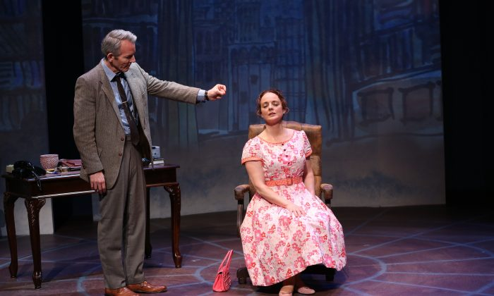 "Stephen Bogardus and Melissa Errico in Irish Repetory Theatre's ""On a Clear Day You Can See Forever."" (Carol Rosegg)"