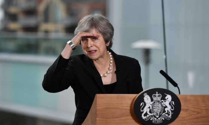British Prime Minister Theresa May delivers a keynote speech at the Waterfront Hall on July 20, 2018 in Belfast, Northern Ireland. During her two-day visit, focussing on Brexit and the deadlock at Stormont, she will visit the Irish border and discuss the potential impact of Brexit with Northern Irish businesses. (Charles McQuillan/WPA Pool/Getty Images)