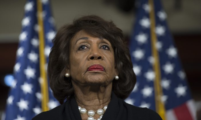 Rep. Maxine Waters (D-Calif.) looks on before speaking on Capitol Hill in Washington on Jan. 9, 2018. (Andrew Caballero-Reynolds/AFP/Getty Images)