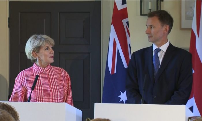 Australia and Britain are ready to agree on a free trade deal, Australian minister for foreign affairs Julie Bishop said on July 20, following discussions alongside UK counterpart Jeremy Hunt at a bilateral meeting in Edinburgh. (Reuters)