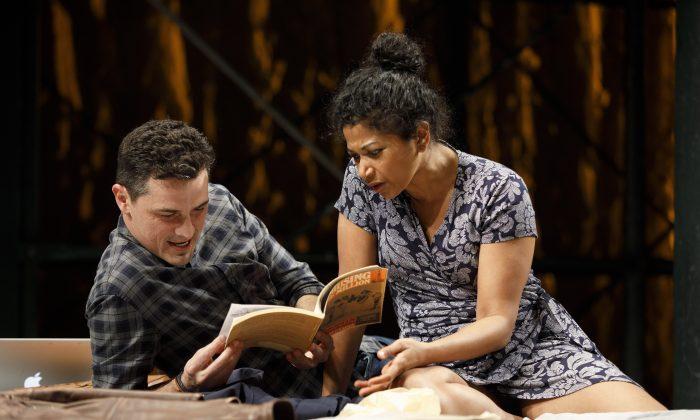 """Enver Gjokaj and Rebecca Naomi Jones in the New York premiere of """"Fire in Dreamland."""" (Joan Marcus)"""