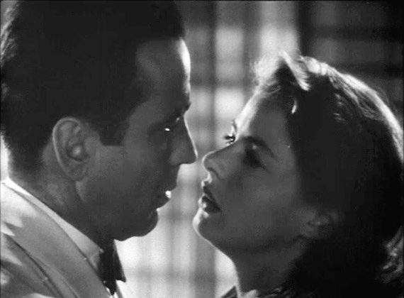 "Humphrey Bogart and Ingrid Bergman in the classic film ""Casablanca."" Rick, Humphrey's character, sacrifices Ilsa to his romantic rival for the good of the World War II effort. (Public Domain)"