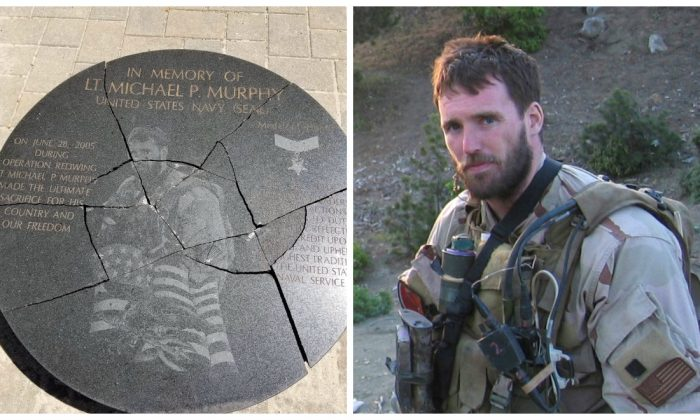 A 14-year-old boy was arrested on Friday for allegedly vandalizing the memorial of a fallen Navy SEAL. The suspect was arrested July 20, 2018. (Credit Left: Suffolk County Police Department, Right: Navy)