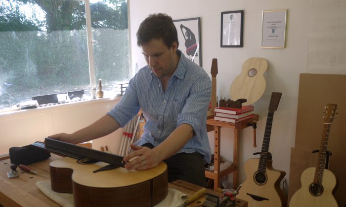 Alex Potter pays attention to the unique qualities of each piece of timber, each instrument is meticulously measured as part of the set-up before his handiwork leaves the workshop. (Courtesy of Alex Potter)