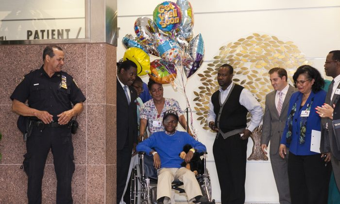 Gama Droiville, a victim of gun violence who got shot in the eye, was released from the Kings County Hospital Center in East Flatbush, Brooklyn, New York April 22, 2014. (Samira Bouaou/Epoch Times)