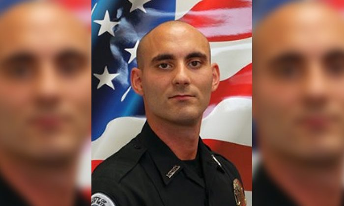 Officer Adam Jobbers-Miller was shot while answering a call at a Marathon gas station on July 21, 2018. (Fort Myers Police Department)