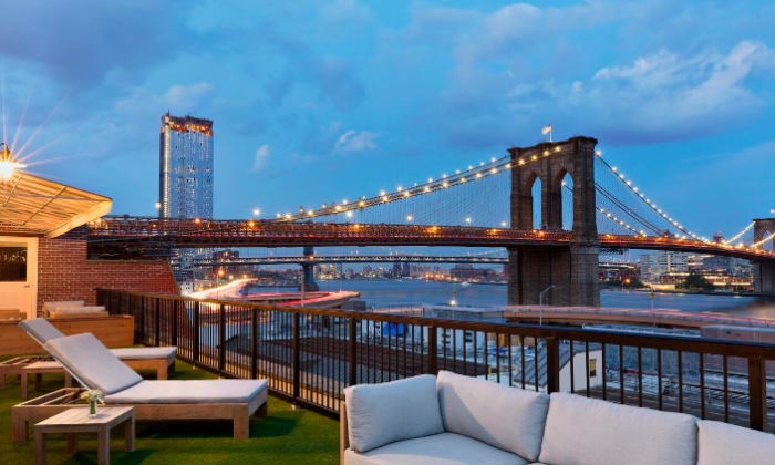 A view of the Brooklyn Bridge from the Mr. C Seaport's terrace. (Courtesy of Mr. C Seaport)