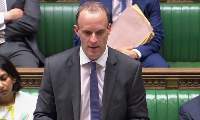 Secretary of State for Exiting the European Union, Dominic Raab, gives a statement to Parliament about the Brexit White Paper, in the House of Commons, central London, July 24, 2018. (Parliament TV/Handout via Reuters)