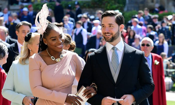 US tennis player Serena Williams and her husband Alexis Ohanian arrive for the wedding ceremony of Britain's Prince Harry, Duke of Sussex and US actress Meghan Markle at St George's Chapel, Windsor Castle, in Windsor, on May 19, 2018. (IAN WEST/AFP/Getty Images)