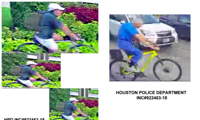 "L: The gunman who shot George H.W. Bush's former doctor was wearing a ""fully-loaded"" backpack, as seen in a new police surveillance footage. R: Dr. Mark Hausknecht is pictured on the yellow bicycle in the surveillance video. (Houston Police Department)"