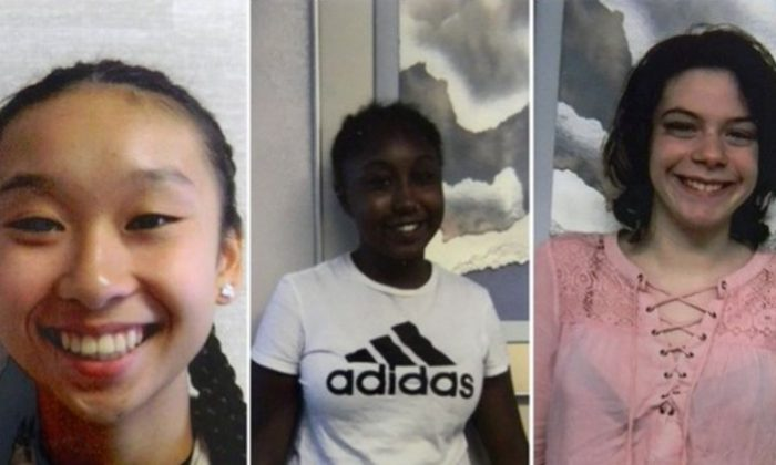 (L-R) Amy Yu, 16, Ajah Linares, 16, and Nichole Richard, 17, left a Franklin County intervention services facility in the early hours of July 23, 2018. (Pennsylvania State Police)