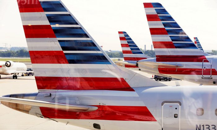 American Airlines aircraft are parked at Ronald Reagan Washington National Airport in Washington, U.S., on August 8, 2016. (Joshua Roberts/Reuters)