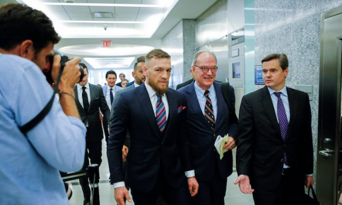 Mixed martial arts (MMA) fighter Conor McGregor exits the courtroom after appearing in the Brooklyn court on charges of assault stemming from a melee, in the Brooklyn borough of New York City, on July 26, 2018. (REUTERS/Eduardo Munoz)