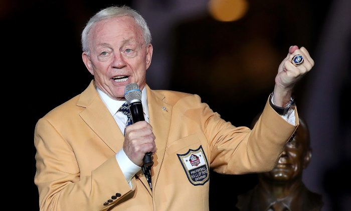 Dallas Cowboys owner Jerry Jones reacts after receiving his Pro Football Hall of Fame ring during halftime at AT&T Stadium in Arlington, Texas, on Nov.19, 2017. (Tom Pennington/Getty Images)