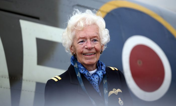 Mary Ellis, an Air Transport Auxiliary pilot in World War ll, poses for a photograph on Aug. 18, 2015, in Biggin Hill, England. (Carl Court/Getty Images)