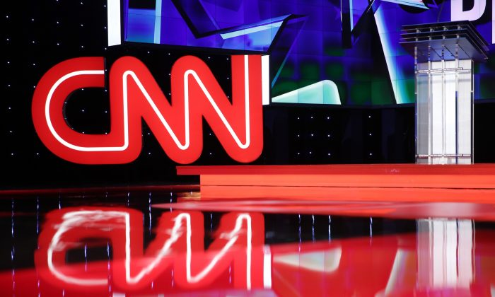 A CNN logo ahead of a debate in Las Vegas on Oct. 13, 2015. (Alex Wong/Getty Images)